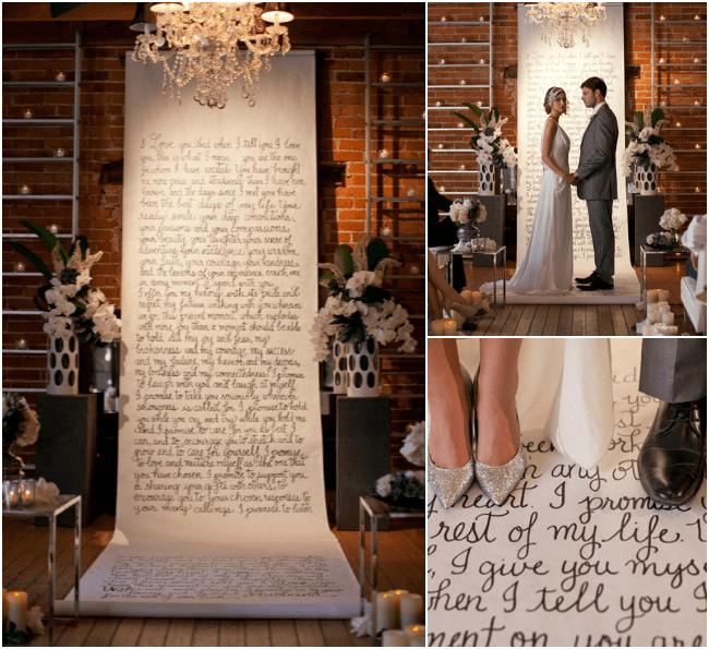 Vows+on+canvas+and+aisle+runner