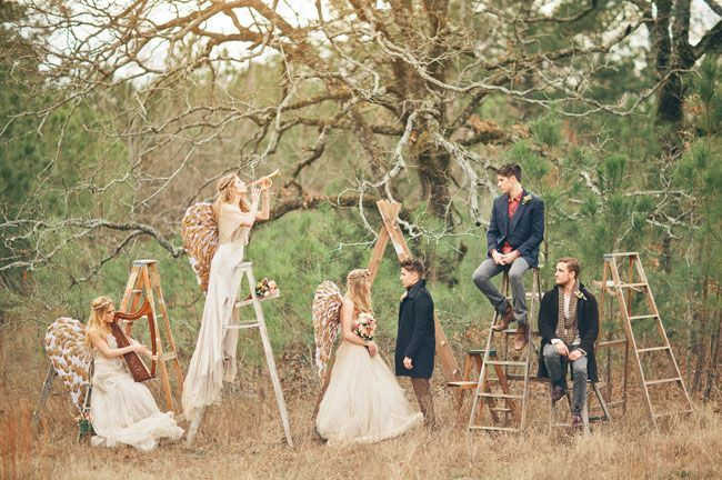 Angel-Inspired-Wedding-and-the-ceremony-set-up-with-ladders1