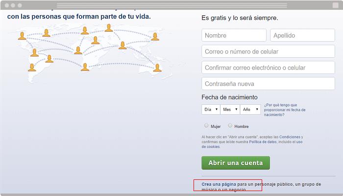 Crear pagina de Facebook para empresa